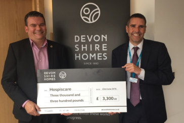 Devonshire Homes hands over £3,300 to Hospicare