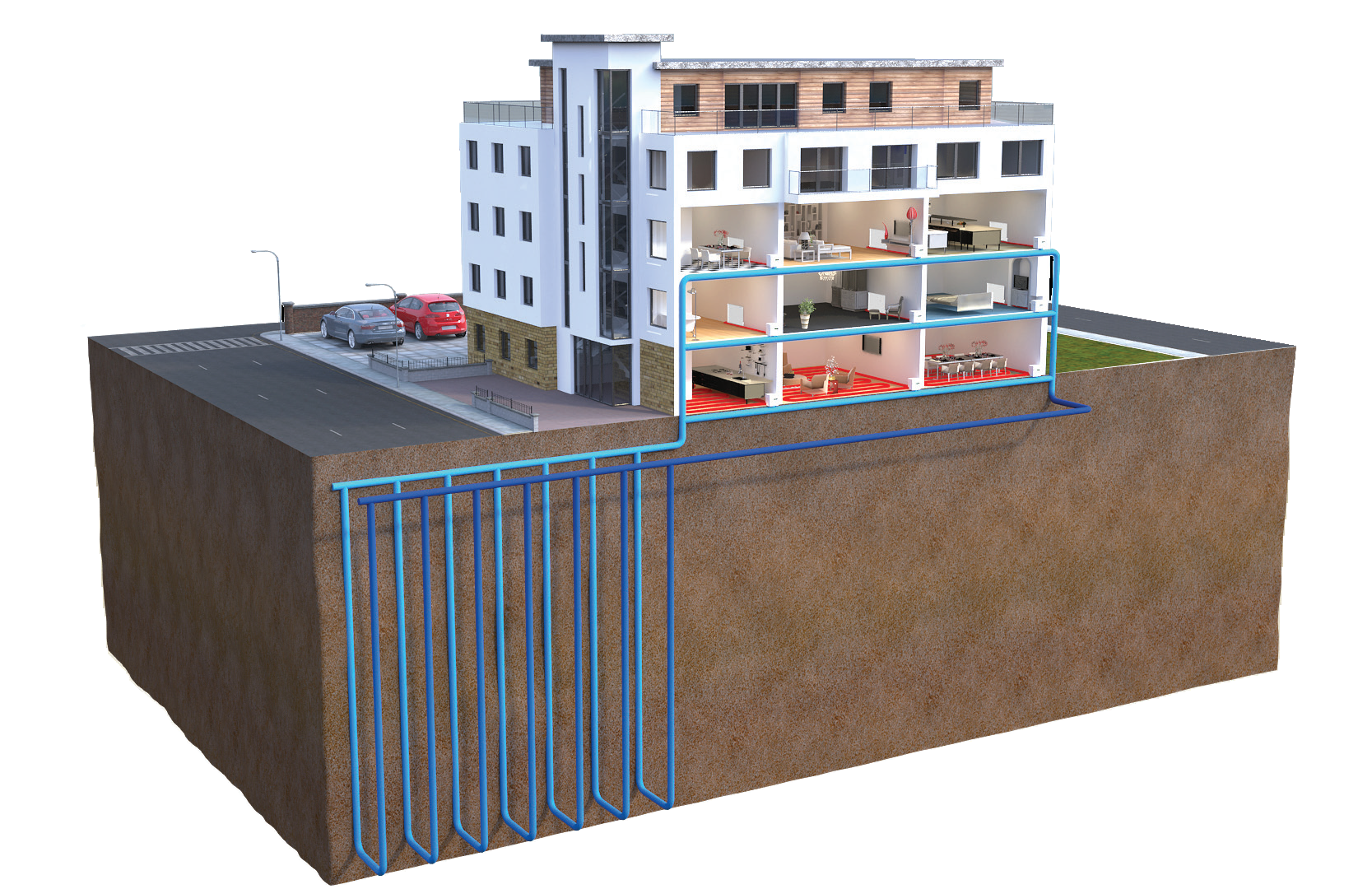 Ground source heat pump for flats