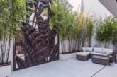 Timber panels transformed into an external wall art installation