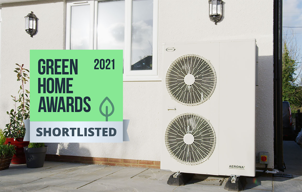 Grant Aerona³ R32 heat pump shortlisted for Green Home Awards