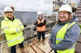 First homes at roof stage at new affordable housing scheme in Moggerhanger, Bedfordshire